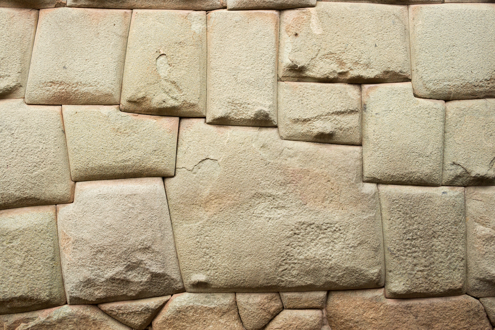 Twelve angled stone of Inca masonry from the Archbishop's palace, in Cuzco, Perù