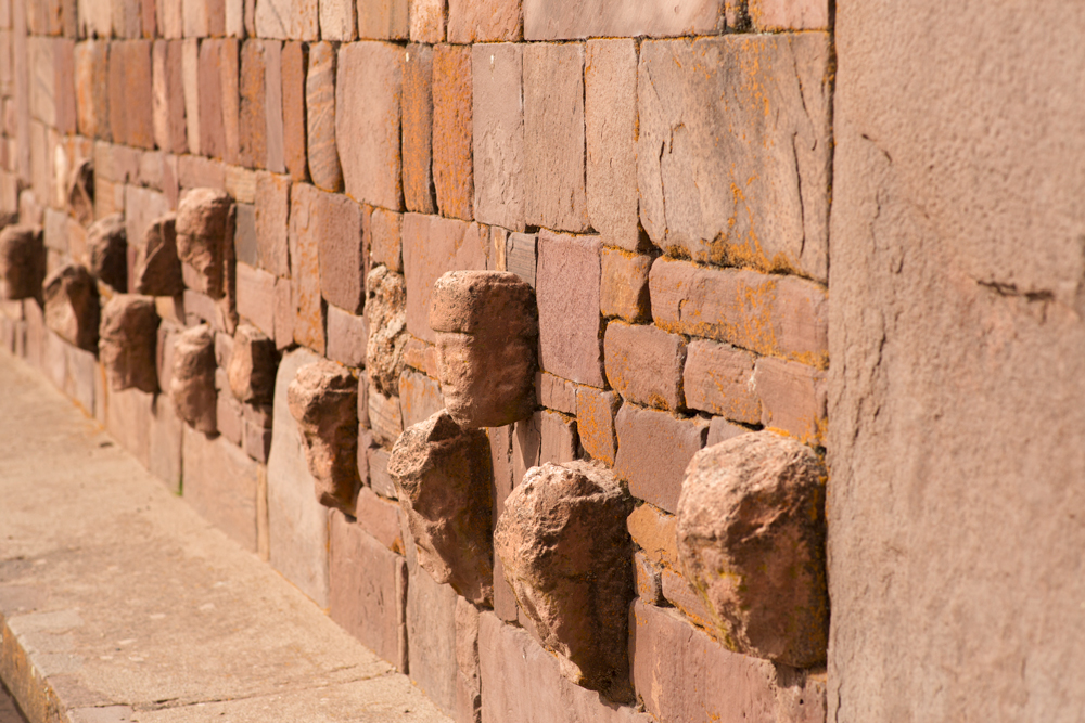 Sculptured heads from the sunken courtyard in Tiwanaku, Bolivia