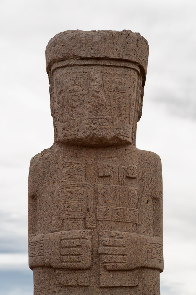 Close-up of the Ponce Monolith from the Kalasasaya templar complex in Tiwanaku