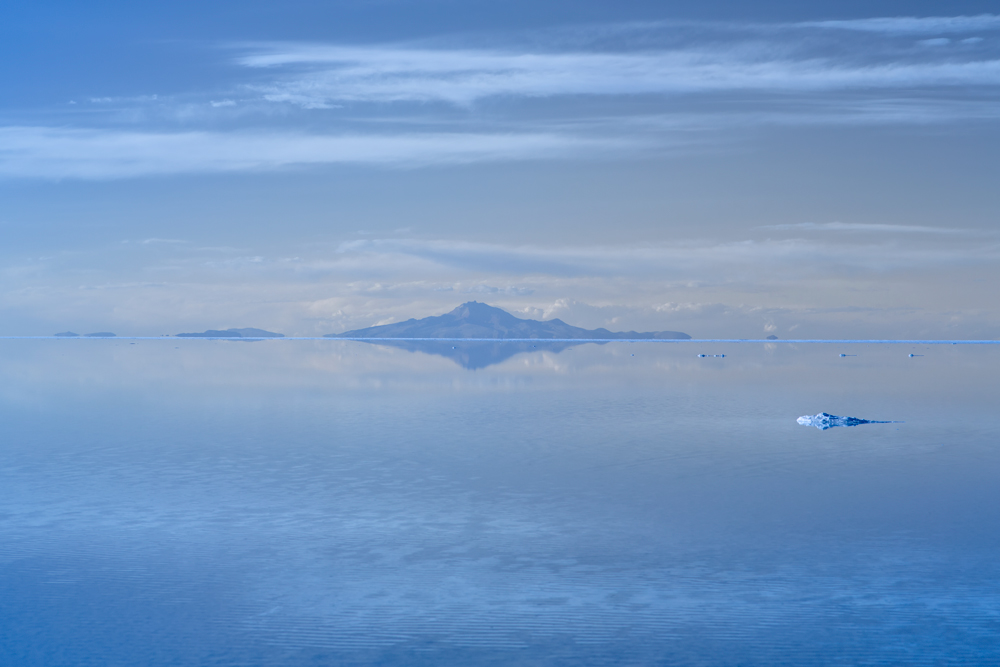 Reflection on the Salar de Uyuni during the wet season when it is flooded