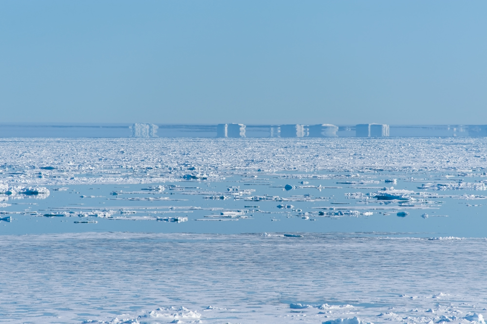 Images of icebergs on the horizon distorted by Fata Morgana mirages in Greenland