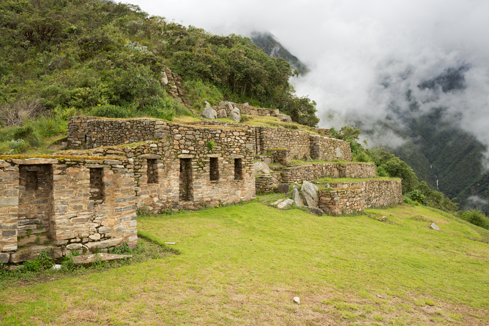 Ruins of buildings and terraces from the Inca site of Choquequirao in the Ande, Peru
