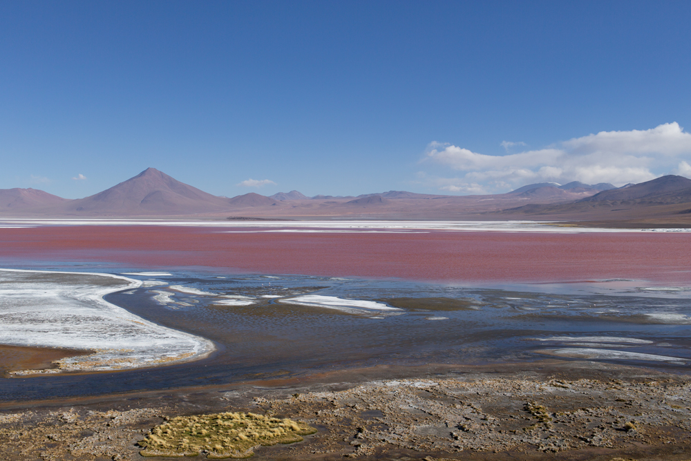 Laguna Colorada in the Central Ande, with volcanos in the background