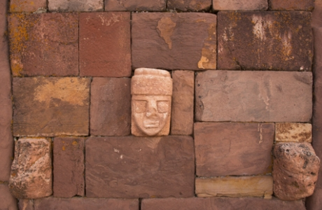 Sculptured head from the sunken courtyard, or Templo Semisubterraneo, in Tiwanaku, Bolivia