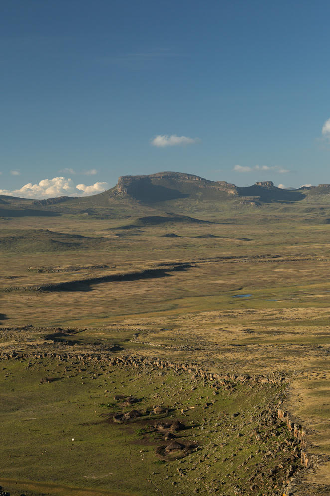 Traditional village set on the alpine landscape of the Bale Mountains