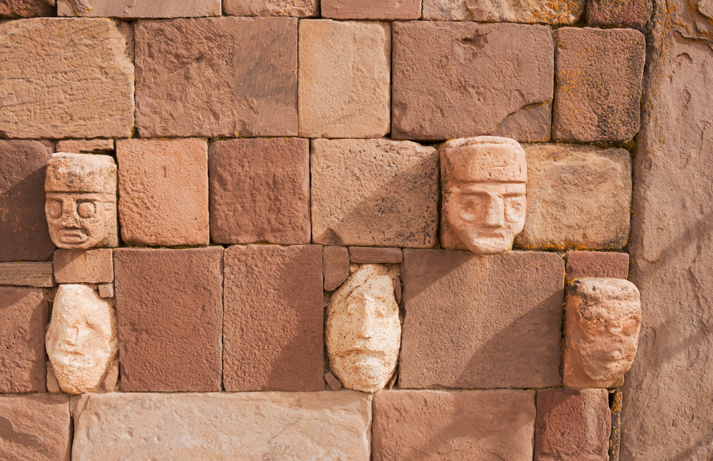 Carved human heads from Tiwanaku