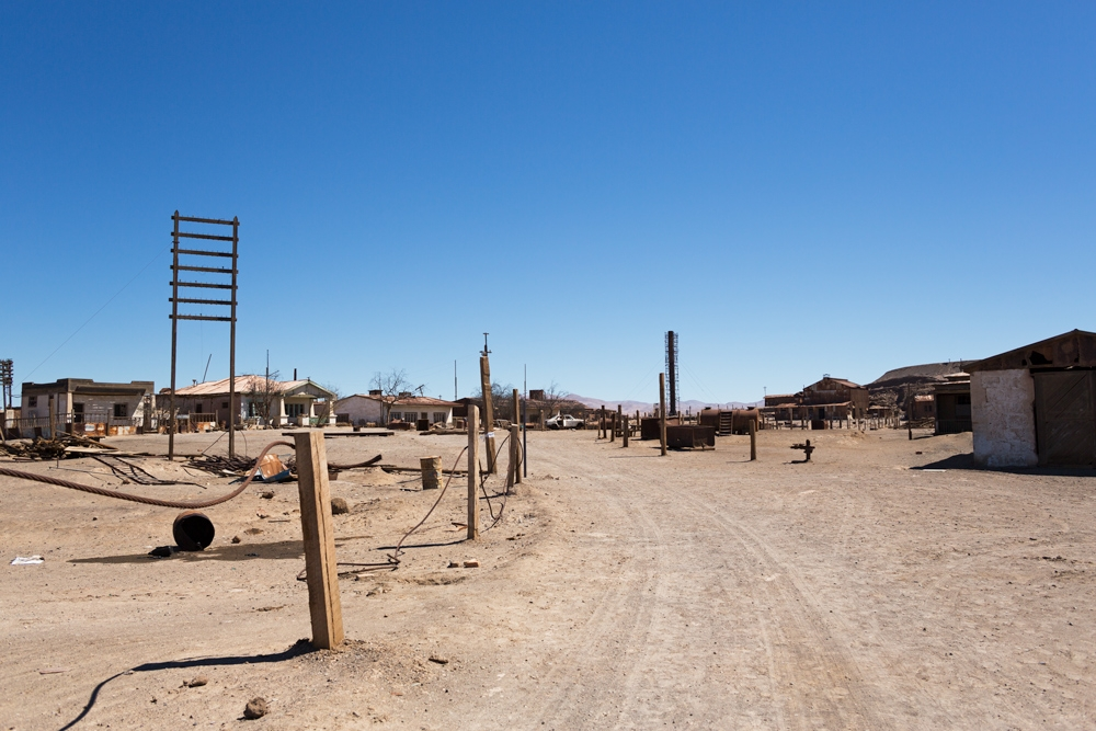 Abandoned buildings in the main square of Humberstone