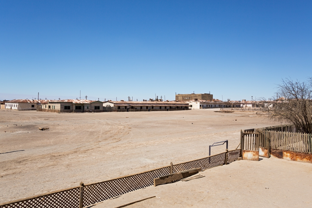 Vast square in Humberstone, a ghost mining town in the Atacama Desert in Chile