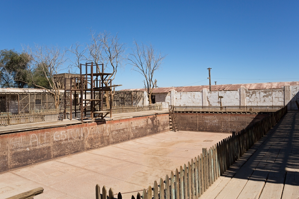 The swimming pool of Humberstone, made from the metal hull of a ship