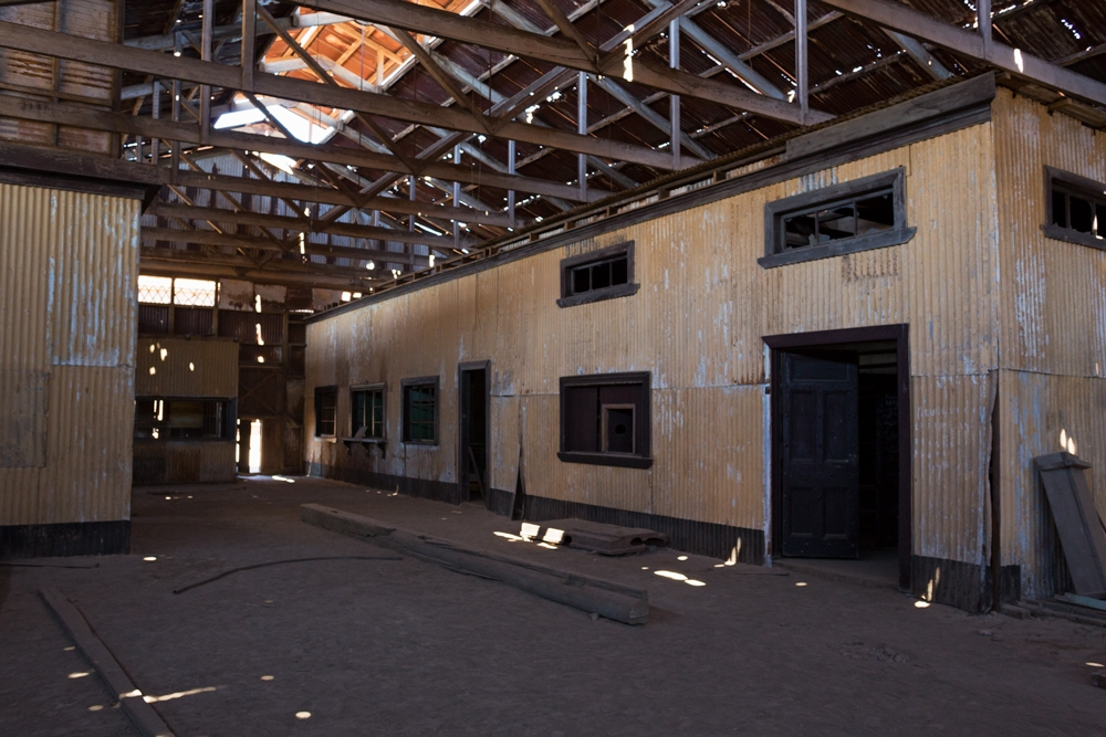 Abandoned offices in corrugate iron sheets from one of the industrial plant of Humberstone