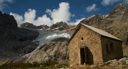 The Tuckett refuge built in 1886 below the Glacier Blanc in the Ecrins Mountains, French Alps